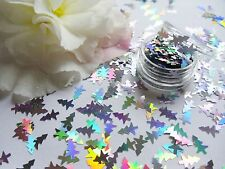 NAIL ART Sparkle OLOGRAFICA * SILVER Natale Alberi * POT Spangle GLITTER DECORAZIONI