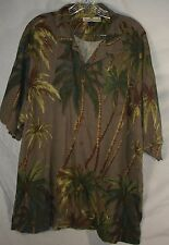 Tommy Bahama Gray Palm Tree Hawaiian Aloha Camp Lounge 100% Silk Shirt Men's XL