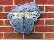 Dragonfly Fossil Wall Hanging Plaque Sculpture Hand Cast Unique