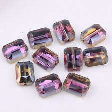 Fashion 10PCS Rectangular Glass Purple Crystal Faceted Spacer Loose Beads