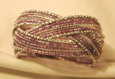 Lovely Violet Glass Seed Beads Shiny Silvertone Rim Braided Cuff Bangle Bracelet