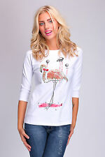 Ladies Casual Sequined Top Flamingo Print Blouse Jumper Sweater Size 8-12 FT1744