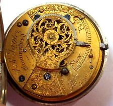 RARE LARGE VERGE FUSEE WORKING SILVER  PAIR CASE  WATCH   C1845 +KEY WORKING