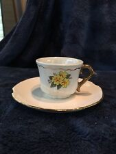 Miniature Expresso Demi-Cup And Saucer With Gold Trim