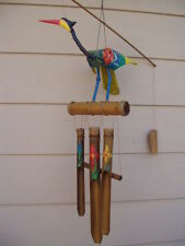 Bamboo Wind Chimes Bobbing Head Bird with Painted Wings and Tail FREE SHIP