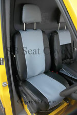 VW TRANSPORTER T4 VAN SEAT COVERS MADE TO MEASURE SILVER+BLACK LEATHERETTE