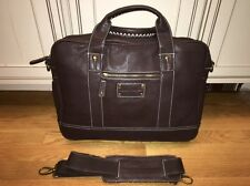 Tommy Bahama Brown Leather Laptop Briefcase Messenger Computer Bag