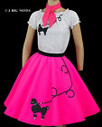 "3 PC Neon PINK 50's Poodle Skirt outfits Girl Sizes 7,8,9,10 W 20""-26"""