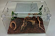 TERRESTRIAL 11 GALLON ACRYLIC SCREENED TOP TERRARIUM,SNAKE REPTILE CAGE HINGED