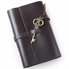 Ancicraft Refillable Leather Journal Diary With Vintage Key A6 Blank Paper Small
