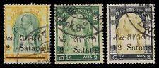1909 THAILAND #128-29 & 136 SATANG OVERPRINTS - USED - F/VF - CV $69.50 (E#1121)