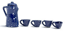 DOLLHOUSE MINIATURE - Navy Blue Splatterware Enamelware Coffee Pot & Cups 5 pc