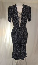 KARIN STEVENS PETITES 1940's Style Blue Speckled Womens 10 Pencil Dress