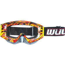 Wulf Wulfsport Adult MX Motorcross Geo Anti Scratch Lens Quad Bike Goggles Red T