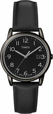 Timex T2N947, Unisex Mid-Sized Black Leather Watch, Indiglo, Date T2N9479J