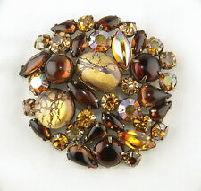 Juliana Brooch - Volcanic Crackle Art Glass, Foil Cabs & Topaz, Gold Rhinestones
