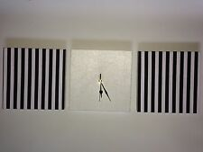 SET OF 3 MODERN NAUTICAL WHITE BLACK STRIPED WALL HANGINGS AND FAUX SUEDE CLOCK