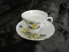 Fine Bone China White Tea Cup & Saucer Purple/Yellow Flowers Made in England