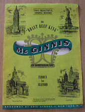 "RARE ca 1950 Restaurant Menu~""McGINNIS' of Sheepshead Bay""~NYC~'Roast Beef King'"