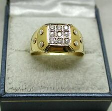 Gents Superb Heavy Two Colour 18ct Gold Nine Stone 0.40ct. Diamond Signet Ring