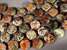 "COLORFUL MUSHROOM RHYOLITE 25MM COIN BEADS 16"" STR  PEACOCK JASPER SPIDERWEB"