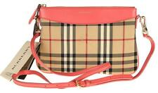 $625 NEW BURBERRY PEYTON LEATHER HORSEFERRY CHECK  CLUTCH CROSS BODY BAG