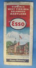 1946 Esso Road Map of Virginia West Virginia Delaware Maryland