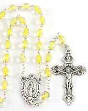 NEW MADE IN ITALY YELLOW SOUL GLASS BEAD ROSARY  -BEAUTIFUL & UNIQUE BEADS