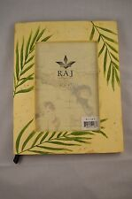 RAJ Collection Cream Colored Picture Frame Hand Painted Green Nature