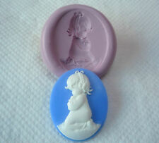 Girl Praying Cameo Silicone Mould, Christening Xmas Sugarcraft, Crafts,Chocolate