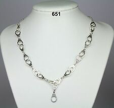 "Novelty 19"" silver (metal alloy) handcuff necklace on silver-plated chain. Fun!"