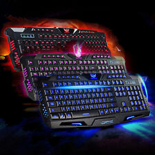 3 Colors Multimedia Illuminated LED Backlight USB Wired PC Gaming Crack Keyboard