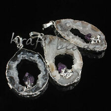 Natural Agate Slices Crystal Geode Amethyst Random Chakra Stone Pendant Jewelry