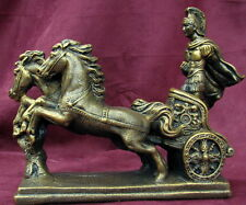 Roman Chariot Horses Statue Sparta Military Troy Art