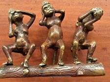 Solid  Bronze See Hear Speak No Evil  Seated Monkey Figure Statue
