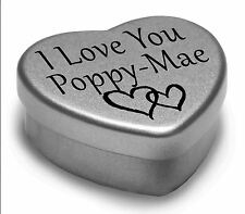 I Love You Poppy-Mae Mini Heart Tin Gift For I Heart Poppy-Mae With Chocolates