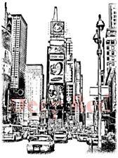 Deep Red Rubber Stamp New York Times Square City Scene