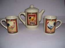 Ceramic Rooster Teapot Bay Island Inn Rooster Tea Set Country Shabby Chic NWOT