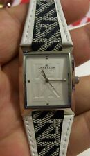 Modern ANNE KLEIN Ladies WIDE Black & White BAND Quartz Watch FRESH BATTERY LOOK