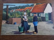 Dutch Postcard colour Woman & Boy with Pales at Well Zealand Holland Netherlands