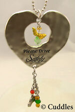 Please Drive Safely Car Charm Angel Heart  Keychain Crystal Key Chain Ganz NEW