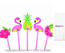 Coco&Bo 10 x Pink Paradise Flamingo Cupcake Picks Beach Party Table Decorations