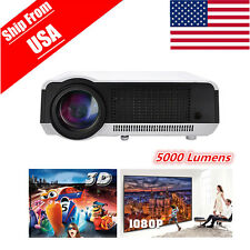 5000Lumens 3D HD 1080P LED LCD Home Theater Projector Cinema Multimedia HDMI US