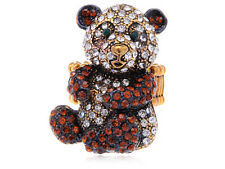 Antique ali-market Golden Topaz Happy Panda Bear Rhinestone Fashion Ring R0503
