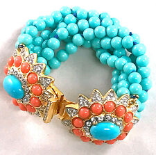 Kenneth Jay Lane turquoise Bead Multi Row Gold turquoise rhinestone bracelet