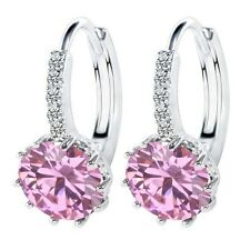 Sterling Silver Pink Topaz Crystal CZ Stud Hood Round Earrings Gift Box K37