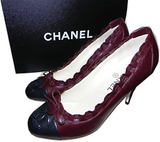 $850 CHANEL CC logo Cap toe Burgundy Leather Bow Classic Pump Heel Shoes 40 / 9