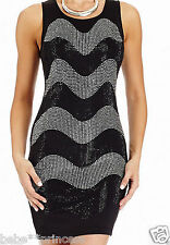 NWT bebe skirt top dress black silver crystal stud sexy bodycon party XS 0 2 hot