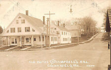 Cherryfield ME Old Hotel & Campbell's Hill Street View RPPC Real Photo Postcard