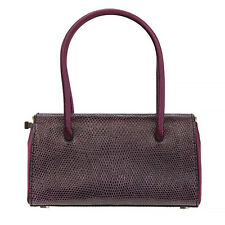 34823 auth JIL SANDER eggplant purple LIZARD leather Evening Bag Handbag